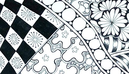 ゼンタングル、ダイソーのエンボスペーパーが描きやすい